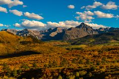 The Iconic Dallas Divide Featuring Mount Sneffels in Fall stock photography