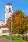 Iconic depot in Boise Idaho with fall trees. TRain Depot in the autumn season royalty free stock photography