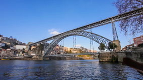 The iconic Dom Luis I bridge in the city of Porto, Portugal stock footage