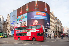 Iconic double-deck bus at Piccadilly Circus Royalty Free Stock Photography