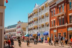 The iconic downtown of Mackinac Island stock photography