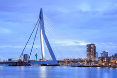 The iconic Erasmusbrug at twilight in Rotterdam, The Netherlands. ROTTERDAM-APRIL 7, 2017. The Erasmus Bridge at twilight. The 284m long bridge was designed by Stock Photography