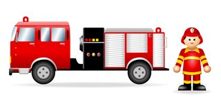 Iconic Figure_Fireman. An illustration of a fireman and his vehicle Royalty Free Stock Photo