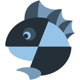 Iconic fish with a fin design. In cold tones Stock Image