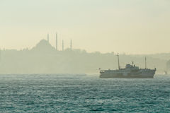 Iconic Foggy Istanbul View Stock Image