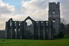 Iconic Fountains Abbey in Ripon. Fountains Abbey preserved ruins of Cistercian Monastery in North Yorkshire. World heritage Site near Ripon stock image