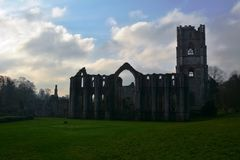 Iconic Fountains Abbey Site in Ripon. Fountains Abbey preserved ruins of Cistercian Monastery in North Yorkshire. World heritage Site near Ripon stock photography