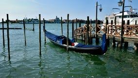 Iconic gondolas of Venice at moorings Royalty Free Stock Photo