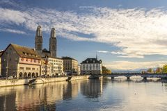 The iconic Grossmünster Church in Zürich stock images
