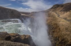Iconic Gullfoss vattenfall Island Royaltyfri Foto