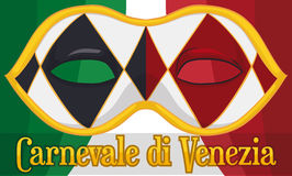 Iconic Harlequin Colombina Mask for Venice Carnival and Italian Flag, Vector Illustration Royalty Free Stock Image