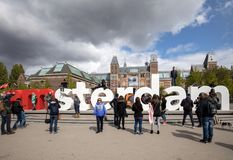 The iconic I Amsterdam letters facing the main façade of the Rijksmuseum . Amsterdam. Netherlands stock photo