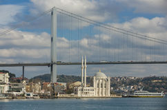 Istanbul view of The Bridge and The Mosque Royalty Free Stock Photography