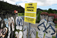 The Iconic Jandal Fence - New Zealand Stock Photo