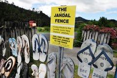 The Iconic Jandal Fence - New Zealand stock photo