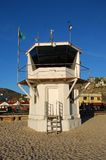 The iconic life guard tower aon the Main Beach of Laguna Beach, California. Stock Photo