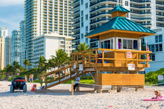Iconic lifeguard tower in South Beach Royalty Free Stock Photo