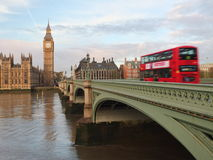 Iconic London - Double Decker - Red Bus - Big Ben Royalty Free Stock Photos