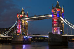 Iconic London Tower Bridge at Night Royalty Free Stock Image