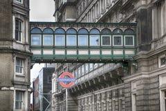 Iconic London Underground subway sign at Charing Cross. Stock Photo