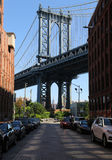Iconic Manhattan Bridge and Empire State Building view from Washington Street in Brooklyn Stock Image