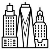 Iconic Manhattan horisont, New York City stock illustrationer