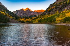 The Iconic Maroon Bells on an Autumn Morning - Colorado stock images