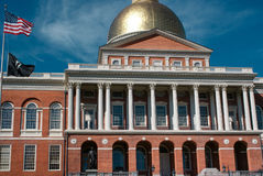 Iconic Massachusetts State House building in Boston on a bright sunny day, USA Royalty Free Stock Image