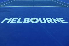 Iconic Melbourne sign at Rod Laver Arena with Wilson tennis ball with Australian Open logo at Australian tennis center Stock Photo