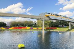Monorail over water and flowers stock image