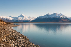 Iconic mountain of New Zealand Aoraki and Lake Pukaki at sunrise Royalty Free Stock Photo
