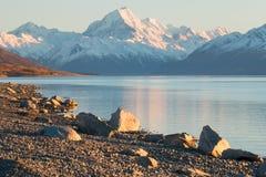 Iconic mountain of New Zealand mt. Cook / Aoraki at sunrise Royalty Free Stock Photo