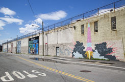 Iconic mural wall at the India Street Mural Project in Brooklyn Royalty Free Stock Images