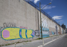Iconic mural wall at the India Street Mural Project in Brooklyn Royalty Free Stock Photography