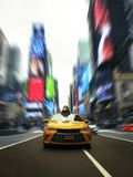 Iconic New York Taxi In Times Square With Dramatic Modern Effect vector illustration
