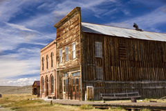 Iconic Old West Ghost Town. Historic main street buildings in an old west goldrush ghost town of Bodie, California royalty free stock photos