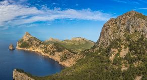 Iconic panorama view of rocky shores coast and mediterranean sea stock photo