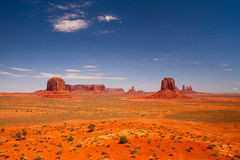 Iconic peaks of rock formations in the Navajo Park of Monument V Royalty Free Stock Photos