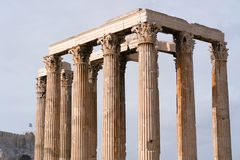 Iconic pillars of Temple of Olympian Zeus, Athens historic center. Iconic pillars of Temple of Olympian Zeus, Athens historic center, Attica, Greece Royalty Free Stock Photos