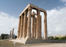 Iconic pillars of Temple of Olympian Zeus, Athens historic center. Iconic pillars of Temple of Olympian Zeus, Athens historic center, Attica, Greece Stock Photos