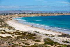 The iconic Port Willunga beach and surrounding cliffs on a clear sunny day in South Australia on 14th February 2019. The very iconic Port Willunga beach and stock photography