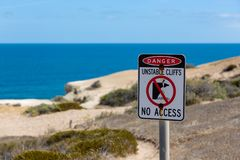 The iconic Port Willunga beach and surrounding cliffs on a clear sunny day in South Australia on 14th February 2019 royalty free stock images