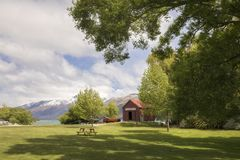 Iconic Boat house in Glenorchy, New Zealand. Iconic red-colour Boat house and surrounds in Glenorchy, New Zealand royalty free stock image