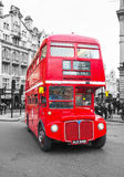 Iconic red double decker bus in London. LONDON - APRIL 5: Iconic red double decker bus on April 5, 2015 in London, UK. The London Bus is one of London's Royalty Free Stock Photo