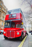Iconic red double decker bus in London Stock Image