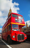 Iconic red double decker bus in London Stock Photos