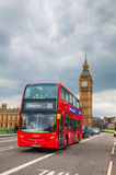 Iconic red double decker bus in London, UK Stock Photo
