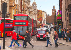 Iconic red double decker bus in London, UK. LONDON - APRIL 5: Iconic red double decker bus on April 5, 2015 in London, UK. The London Bus is one of London's Stock Images