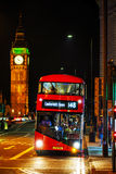 Iconic red double decker bus in London, UK. LONDON - APRIL 14: Iconic red double decker bus on April 14, 2015 in London, UK. The London Bus is one of London's Royalty Free Stock Image