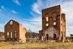 The iconic remains of the Lithgow Ironworks Blast Furnace in the Royalty Free Stock Photo